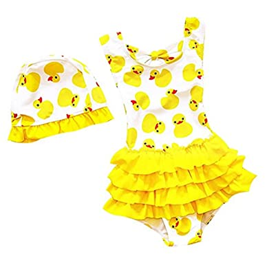 216aa7370b675 Baby Girls Toddler Bathing Suit Cute Duck Print One Piece Swimsuit Swimwear  With Caps 2-
