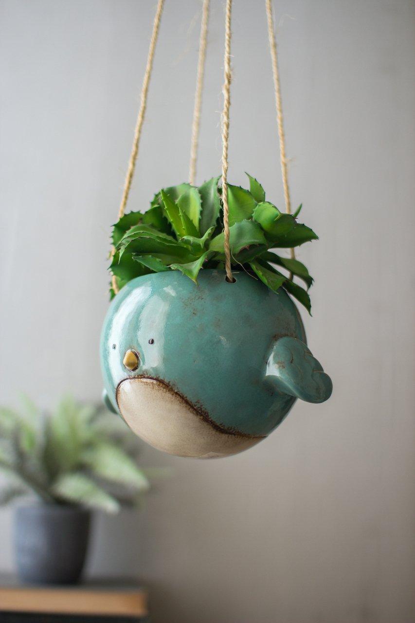 Bluebird Hanging Planter Pot - Ceramic - 7'' Diameter
