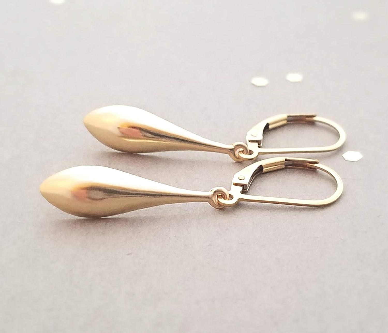 14k Yellow Gold Filled Leverback Teardrop Earrings
