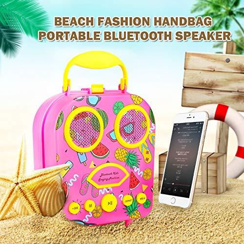Bluetooth Speaker Children's Karaoke Speaker Portable Microphone Beach Handbag Karaoke Bluetooth Speaker Wireless Cartoon Speaker for Kids for Indoor Outdoor Travel Activities with Microphone (Pink) by HowQ (Image #3)