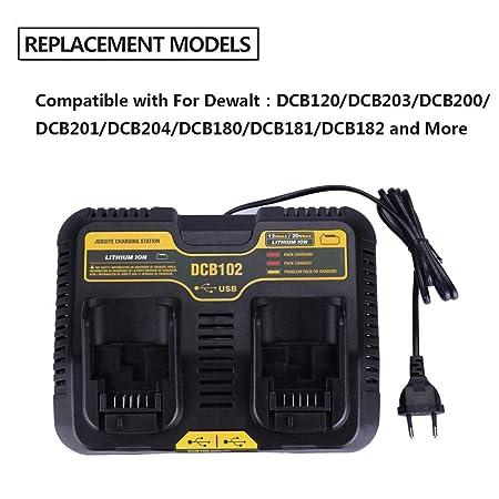 DCB102 Bater/ía de ion de litio USB Puerto doble cargador 3.0A Para DeWalt 10.8V 12V 14.4V 18V 20V DCB101 DCB200 DCB140 DCB105 DCB200