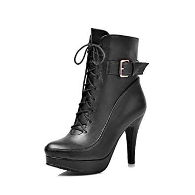 Women's Solid PU High-Heels Lace-Up Closed Round Toe Boots