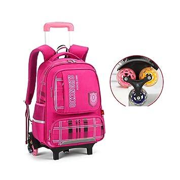 YSZDM Bolso con Ruedas para niños, Trolley Unisex Bolso para Libros para niñas primarias, Mochila con Ruedas para niños, Maleta con Seis Ruedas,Pink: ...