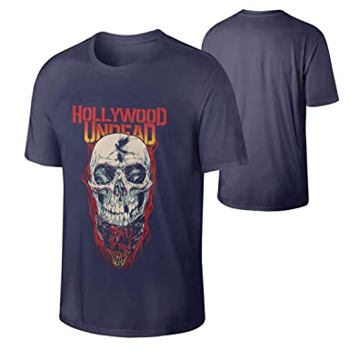 026ba0e04c2 Amazon.com  Men Hollywood Undead Day of The Dead Skull Vintage Shirt Navy   Clothing