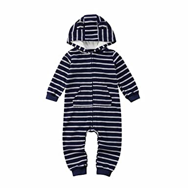 Toddler Newborn Baby Boys Girls Stripe Romper Jumpsuit Bodysuit Clothes Outfits
