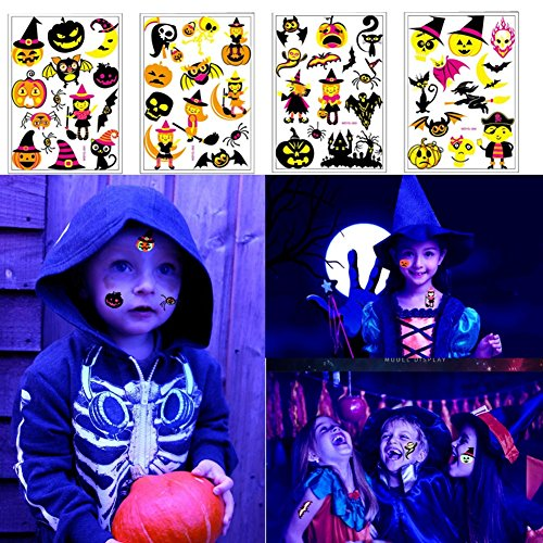 4 Sheets Tattoo Temporary Flash Tattoos Stickers Fluorescent Waterproof Tattoos for Men Women Teens Kids Halloween Cosplay Makeup Costume Fake Tattoos (One Size)