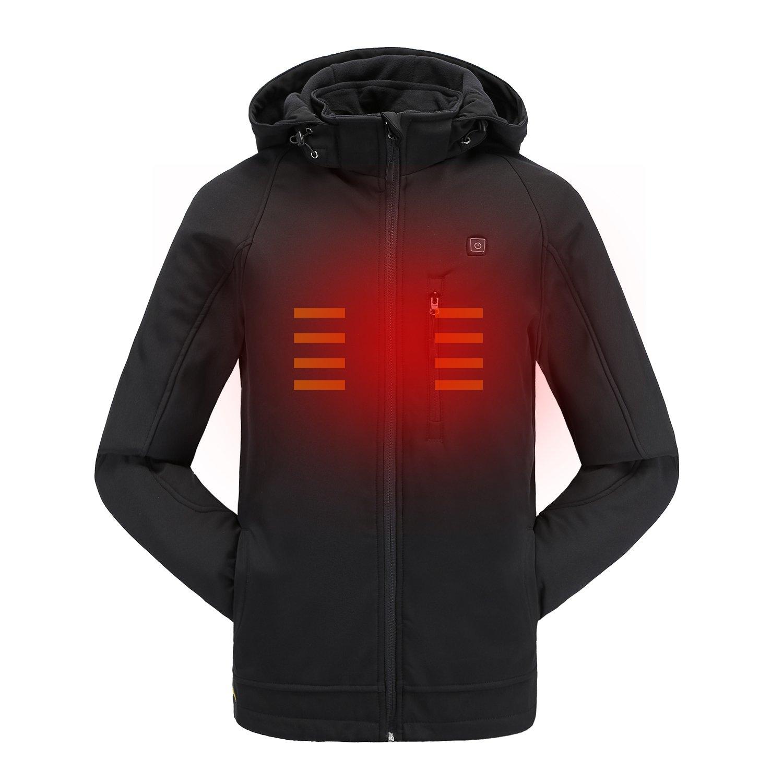 Colcham Men's Soft Shell Heated Jacket Kit With Detachable Hood Waterproof Wind Breaker Slim Winter Jacket L