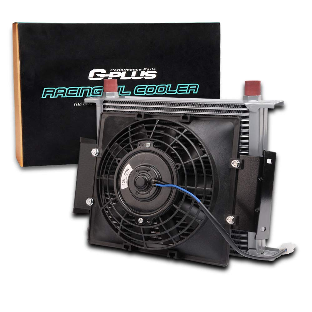 7 Fixed Cooling Black Fan Kit 30 Row 10AN Universal Engine Aluminum Transmission Oil Cooler