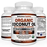 Organic Coconut Oil 2000mg - 100% EXTRA VIRGIN Cold Pressed for Weight Loss, Skin, Hair, Nails - 120 Softgel Capsules - BioScience Nutrition
