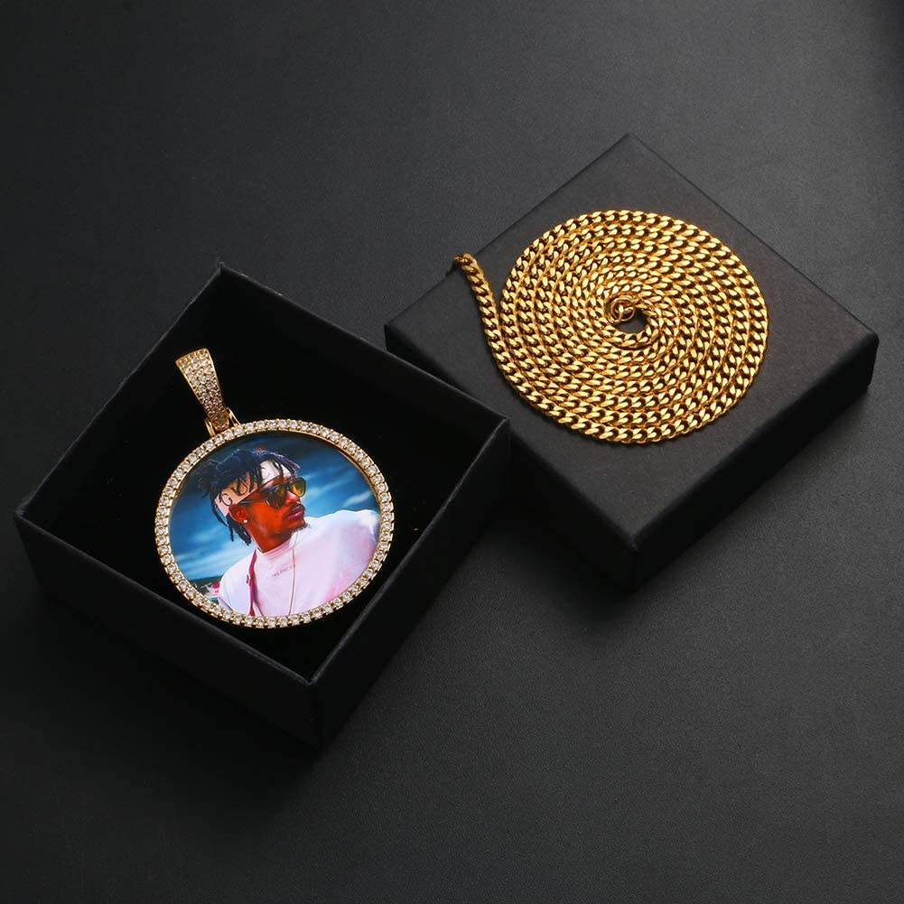 YIMERAIRE Custom Necklace Picture Pendant Necklace Iced Out Picture Chain for Men Personalized Photo Necklaces for Women