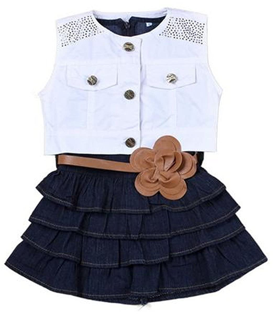 Happy Little Girls' 2Piece White Vest and Denim Cake Dress with Belt Set 3T blue