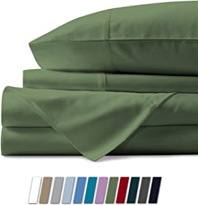 Comfy Sheets 100% Egyptian Cotton Sheets - 1000 Thread Count 4 Pc Queen Sage Green Bed Sheet with Pillowcases, Premium Hotel Quality Fits Mattress Up to 18'' Deep Pocket.