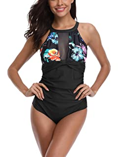 e64830ca301 FLYILY Women's One Piece Swimsuits Swimming Costume Tummy Control Swimwear  High Neck Slimming Plus Size Bathing