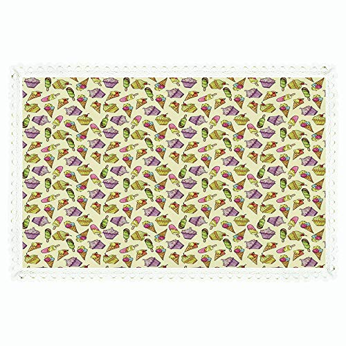 iPrint Ice Cream Decor,Rectangle Polyester Linen Tablecloth/Yummy Cupcakes Chocolate Party Cherry Cones Fruit Sweet Kids Nursery Theme Decorative/for Dinner Kitchen Home Décor,55
