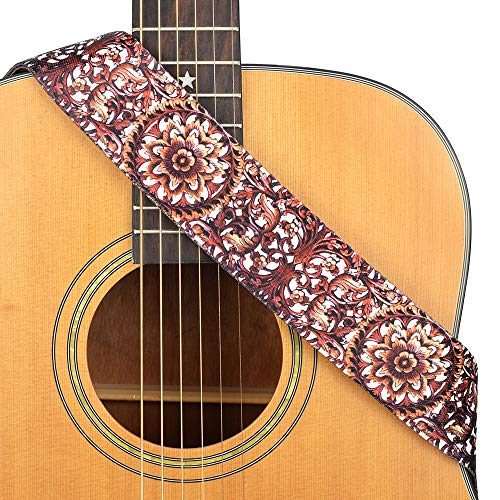 CLOUDMUSIC Guitar Strap Acoustic Electric Bass Strap Polyester Printing Cotton Strap (Brown ()