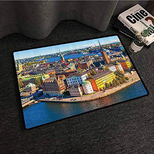 Wanderlust Decor Collection Door mat Customization Scenic Summer Aerial Panorama of The Old Town Gamla Stan in Stockholm Sweden Image Easy to Clean W35 xL47 Blue Yellow