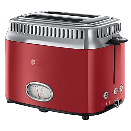 Russell Hobbs Retro Ribbon Red 2168056Toaster 1300W with Countdown Display Quick