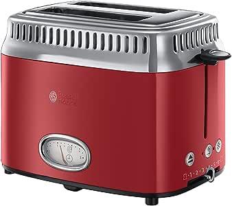 Russell Hobbs 21680-56 Retro 2 Dilim Kapasiteli Ekmek Kızartma Makinesi, 1300 W, 2 dilim, Paslanmaz Çelik, Kırmızı