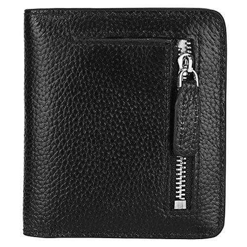GDTK RFID Blocking Wallet Women's Small Compact Bi-fold Leather Purse Pocket Wallet (Black)