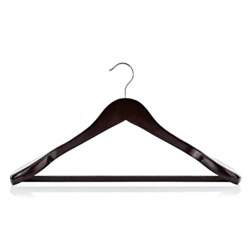 Hangerworld 3 Premium 45cm Dark Wooden Broad Ended Suit Coat Clothes Hangers With No Slip Inlaid Trouser Bar by Hangerworld