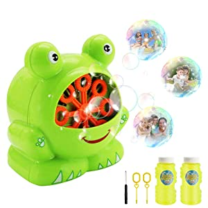 KMOOL Bubble Machine Bubble Toys Automatic Bubble Blower for Kids Portable Bubble Maker for Toddlers 500 Bubbles per Minute Durable Machines Bubble with Bubble Solution (Green, Frog)