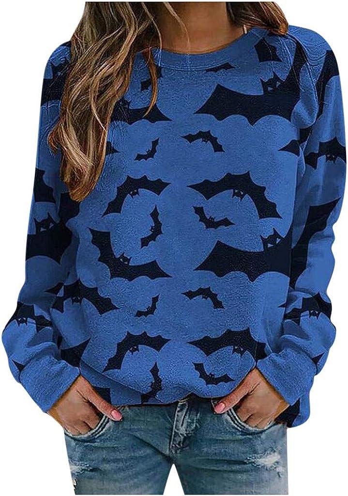 Wendeyipi Womens Pullover Shirts Tops Women Halloween Pumpkin Long Sleeve Sweatshirts Pullover Women Graphic Tees