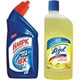 Harpic Powerplus Original - 500 ml with Lizol Disinfectant Floor Cleaner - 500 ml (Citrus)
