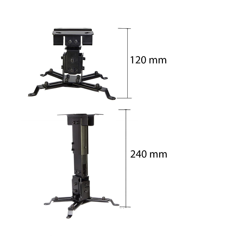 Aluminio 43/ 30/Grados /soporta 15/kg Luxburg/® Kit de Montaje Pared//Techo Universal para proyector Color Negro /65/cm/