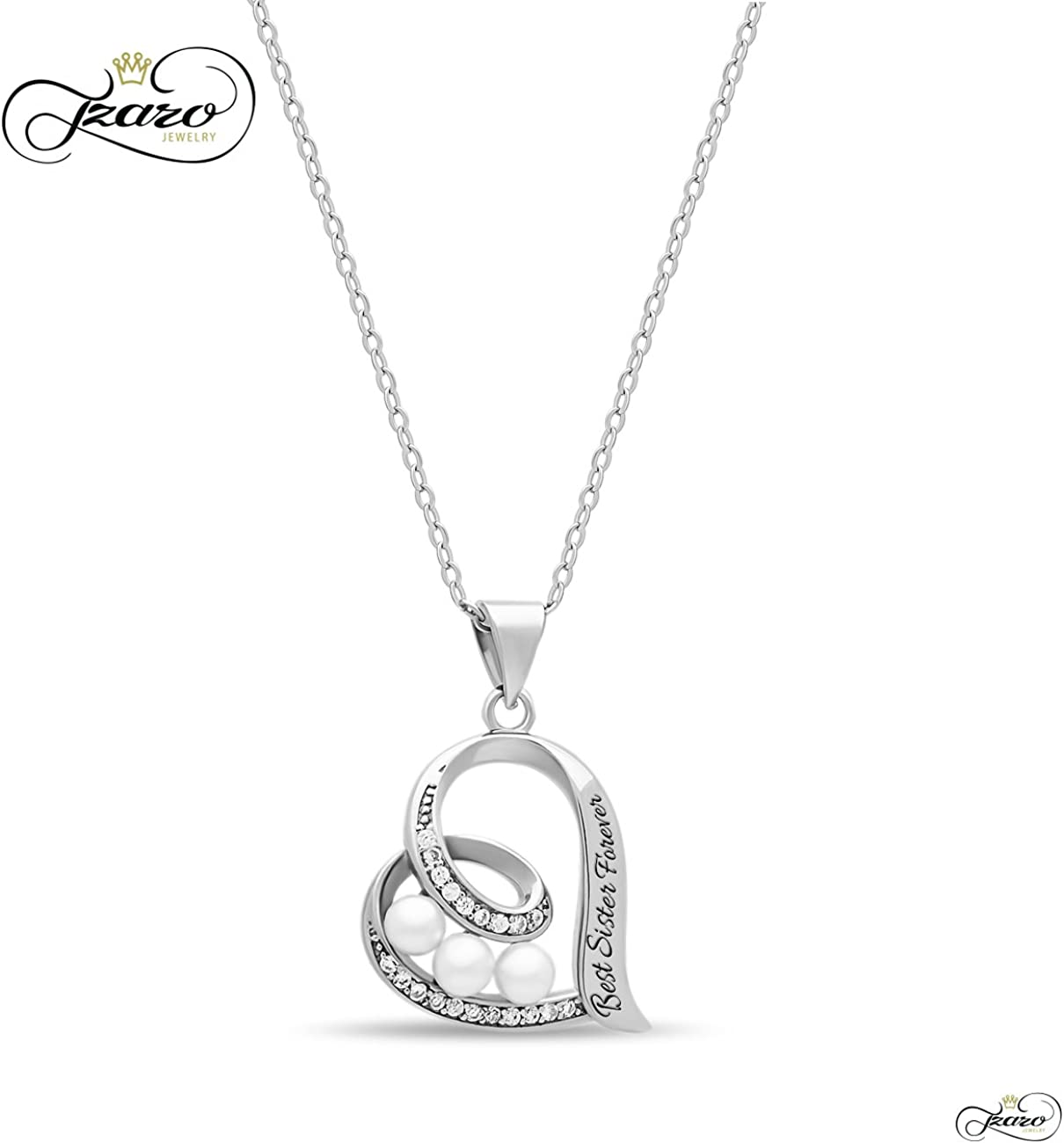 Jewels Obsession Silver Best Sister Necklace Rhodium-plated 925 Silver Best Sister Pendant with 18 Necklace