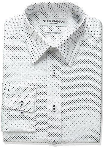 Nick Graham Everywhere Men's Print Stretch Dress Shirt, White (Multi Dot), 16