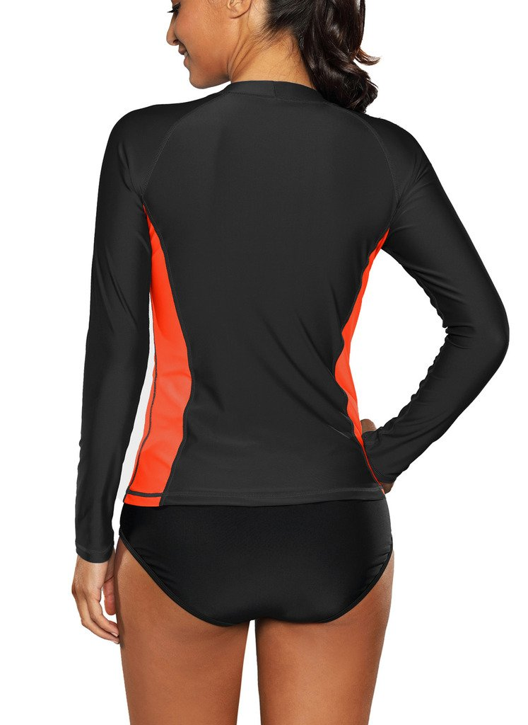 ALove Long Sleeve Rash Guard Top Women UV Shirt Athletic Top for Women Black Small by ALove (Image #5)