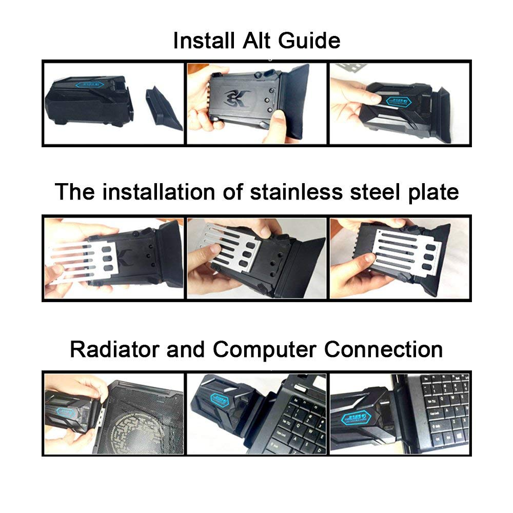 PinPle Laptop Cooler with Vacuum Fan 12'' - 17'' Cooling Pad Adjustable Mounts Laptop Stand Height Angle by PinPle (Image #7)