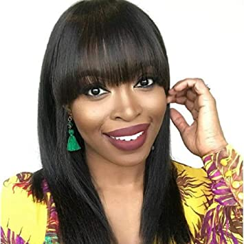 42e54f8a01 Amazon.com : COLODO Synthetic Wigs For Black Women With Bangs Natural Black  Long Yaki Straight Hair None Lace Wigs For Women Hair Replacement Wigs :  Beauty
