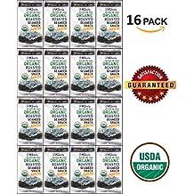 Kim's ORGANIC Seaweed Snacks (Nori). Sea Salt, Roasted, 5.0g (Pack of 16)