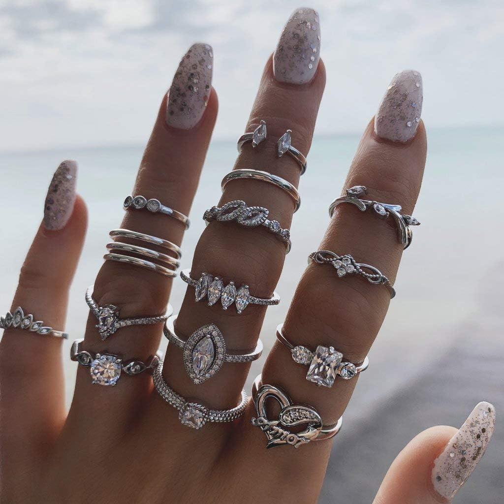 IYOU - Juego de anillos de plata con piedras preciosas para nudillos y nudillos, diseño de flores y lunas, para mujeres y niñas (15 unidades)