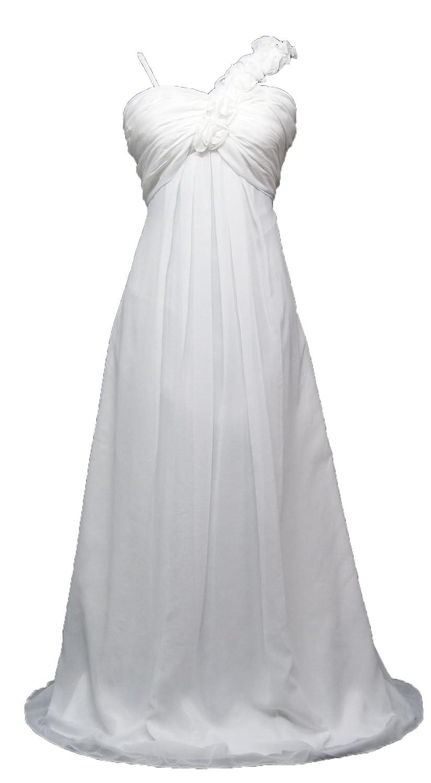 Cherlone Chiffon White, Ivory Maternity Wedding Evening Ballgown Prom Bridesmaid Dress UK 8-24