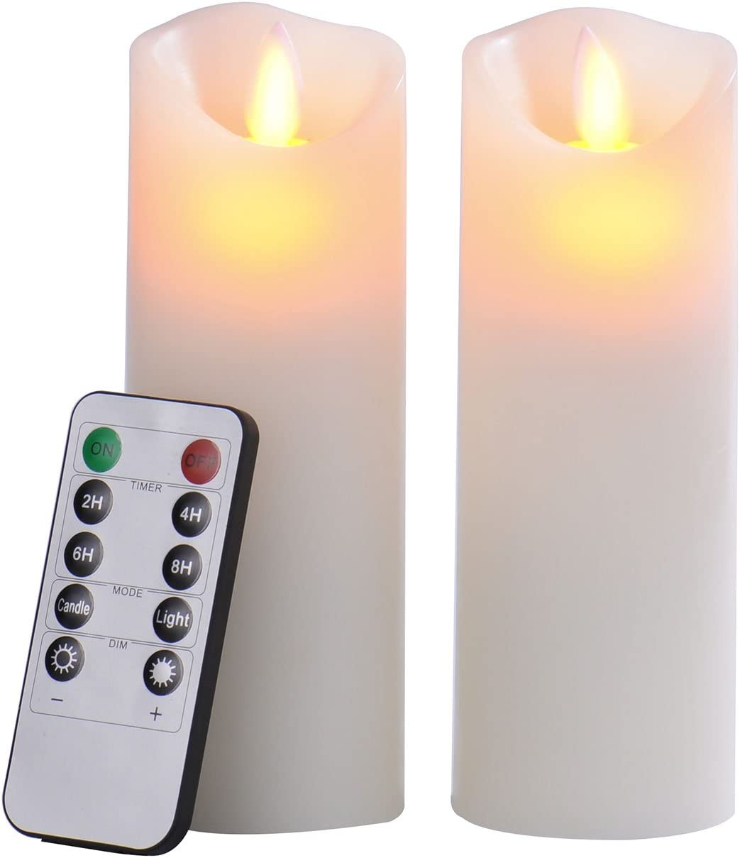 """Pandaing 2.2""""x6"""" Set of 2 Battery-powered Classic Pillar Real Wax Moving Wick Flameless LED Candles with Timer & 10-key Remote Control, Ivory Color"""