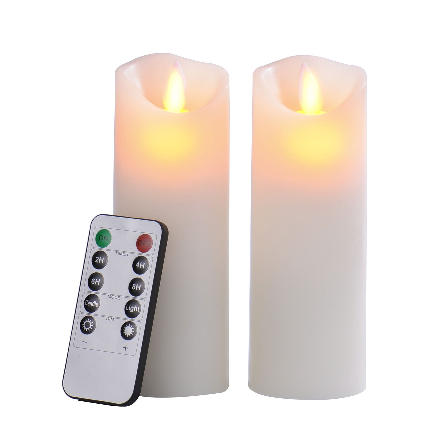 Pandaing 2.2x6 Set of 2 Battery-powered Classic Pillar Real Wax Moving Wick Flameless LED Candles with Timer & 10-key Remote Control, Ivory Color P-00201