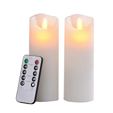Pandaing 2.2 x6  Set of 2 Battery-powered Classic Pillar Real Wax Moving Wick Flameless LED Candles with Timer & 10-key Remote Control, Ivory Color