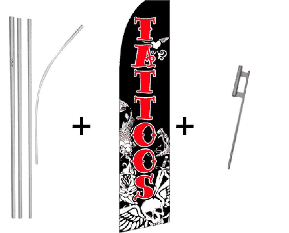 Tatuajes cantidad 2 Super bandera y poste Kits: Amazon.es: Jardín