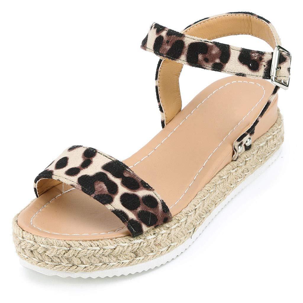 Summer Hot Casual Women' Rubber Sole Leopard Wedge Buckle Ankle Strap Open Toe Flat Sandals (Black, 6.5)