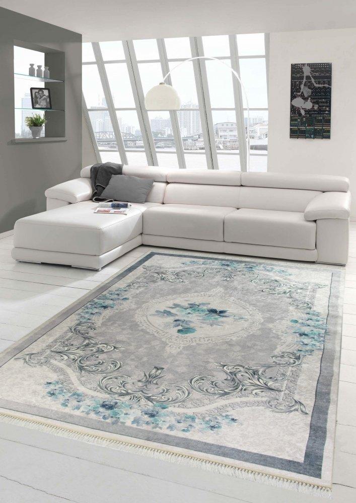 Merinos Teppich Blumen Wohnzimmerteppich waschbar in Blau Grau Größe 160x230 cm