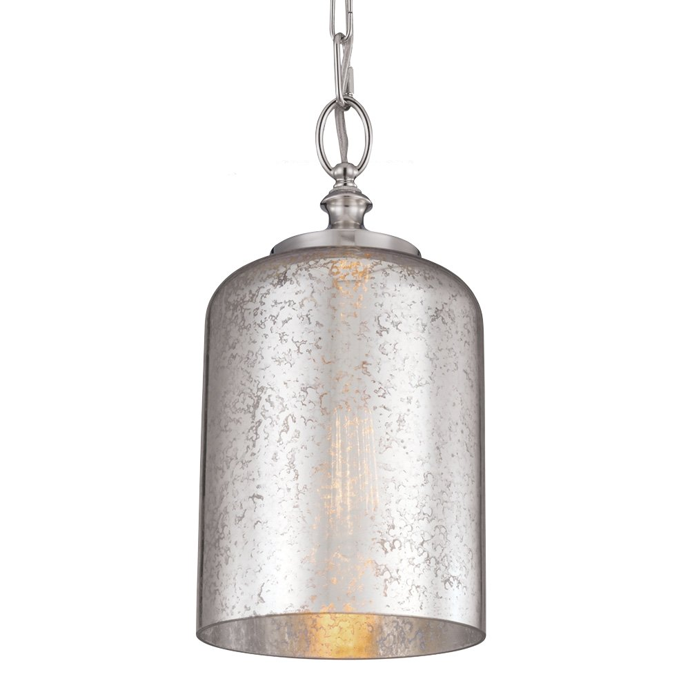 Satin Nickel Feiss P1309BS Hounslow Glass Pendant Lighting 60watts 9Dia x 20H 9Dia x 20H 1-Light 60watts 1-Light
