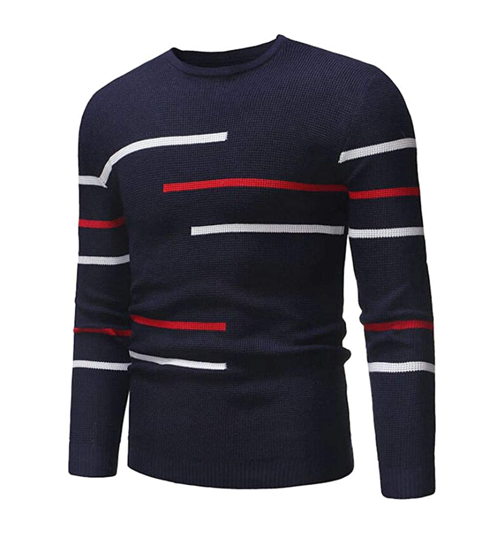 Sweatwater Men Knit Classical Striped Pullover Round Neck Jumper Sweaters