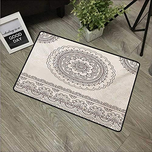 "HRoomDecor Henna,Rubber Door mat Floral Tattoo Design Inspirations from Asian Civilizations Doodle Style Soft Colored W 20"" x L 31"" Weather mats Brown Cream"
