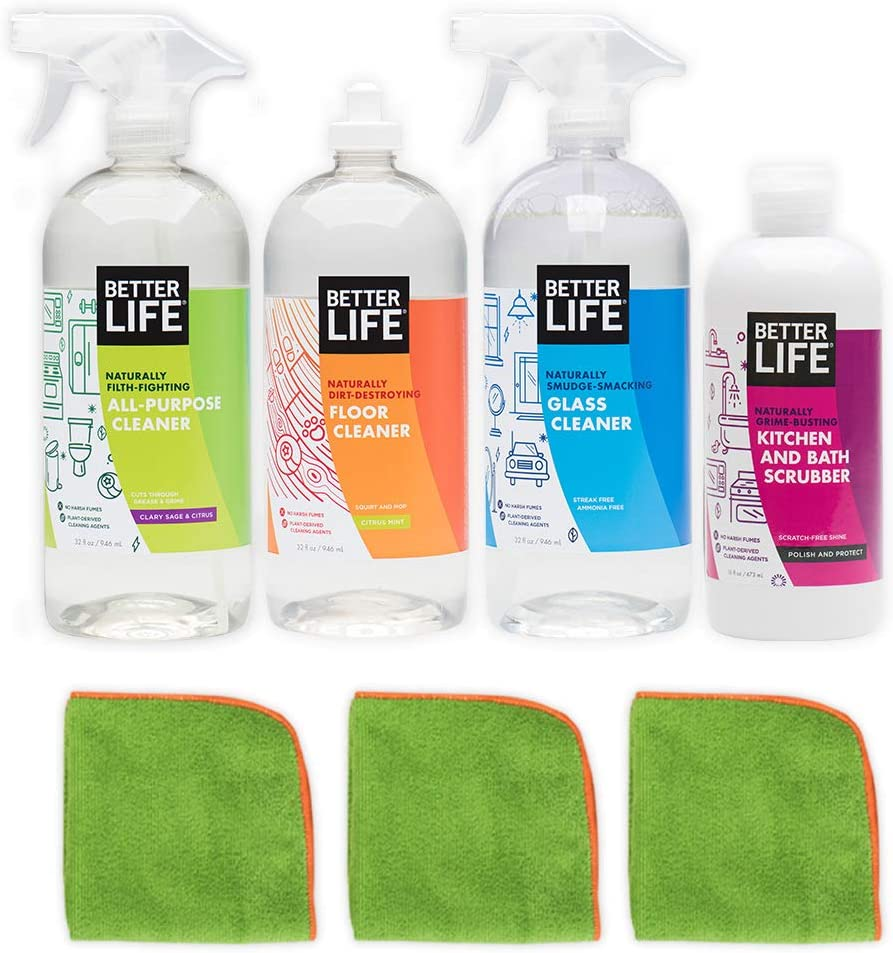 Better Life Plant-Based Cleaning Starter Kit with Cloths, 2426