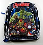 """Marvel Avengers Age of Ultron 16"""" Backpack - 3D Molded Battle Ready Iron Man with Printed Captain America, Thor, and Hulk Background"""