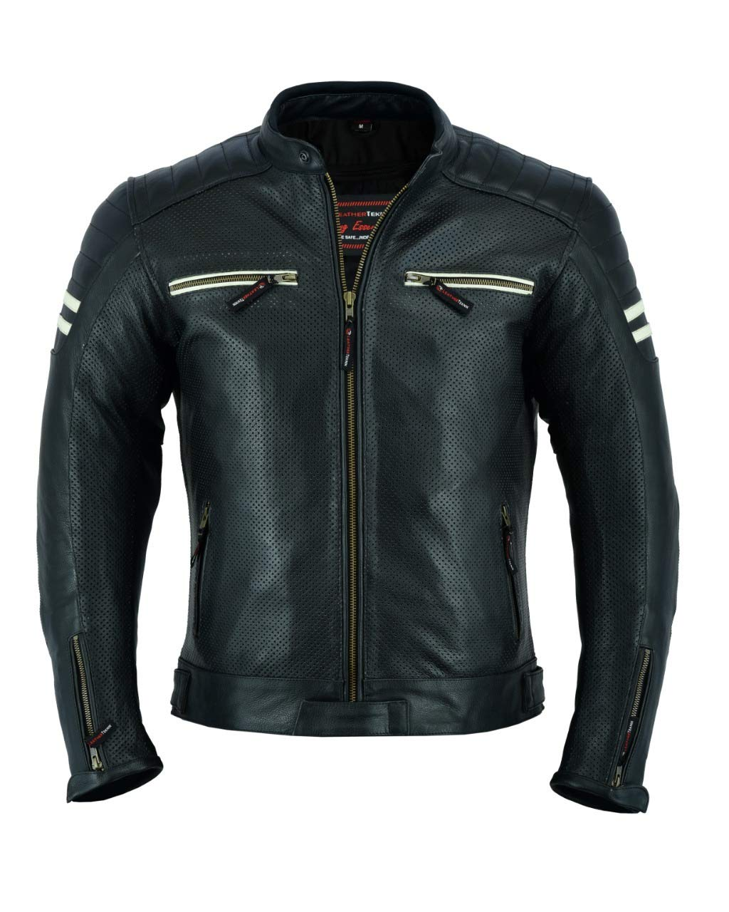 nera LJ-3027A traforata traspirante LeatherTeknik Giacca da motociclista in pelle per uomo con armatura