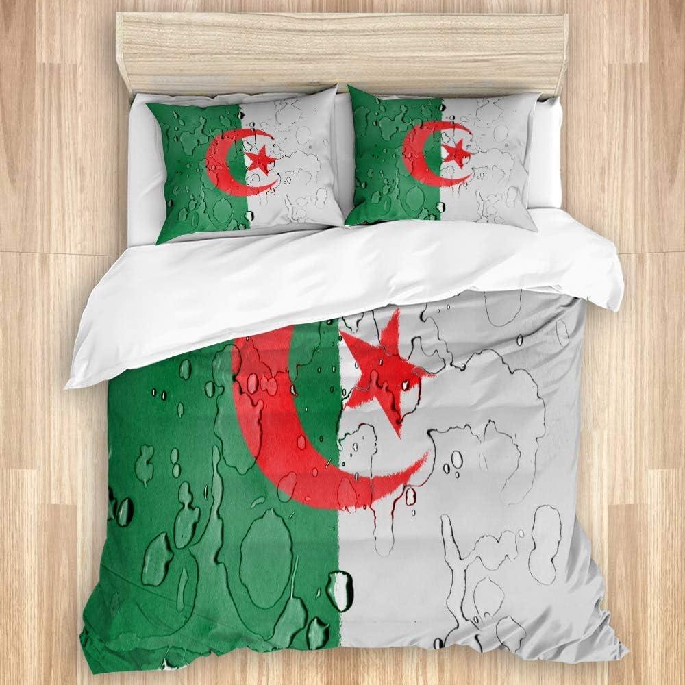 ATZTD Funda de edredón de 3 piezas, con diseño de bandera argelina de Argelia, funda de edredón estampada con cierre de cremallera, edredón de microfibra suave, tamaño 230 x 220 cm