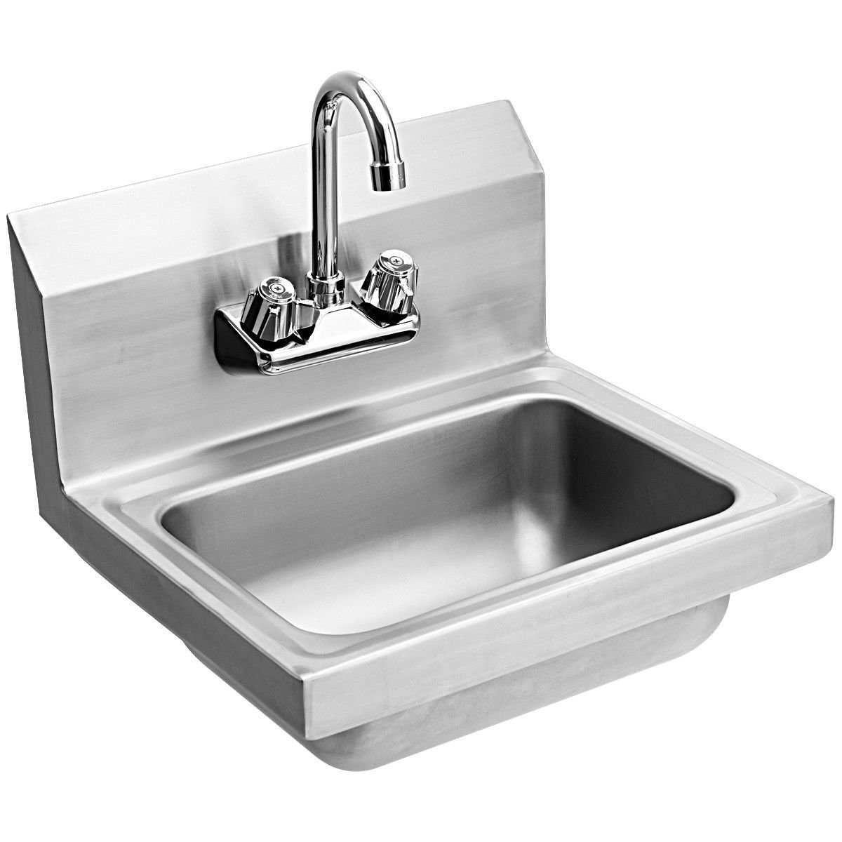 Giantex Commercial Stainless Steel Hand Washing Sink with Wall Mount Faucet Kitchen Heavy Duty Hot & Cold Temperature Water Inlet Washing Basin, Silver by Giantex